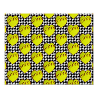 Softball Love Pattern On Houndstooth Posters