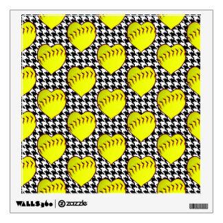 Softball Love Pattern On Houndstooth Wall Sticker