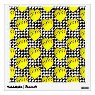 Softball Love Pattern On Houndstooth Room Decal
