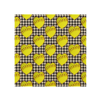 Softball Love Pattern On Houndstooth Wood Canvases