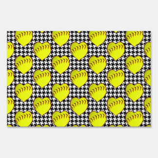 Softball Love Pattern On Houndstooth Signs