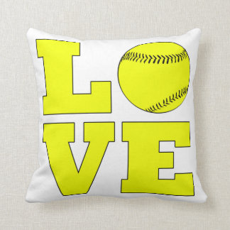softball love pillow white and yellow throw pillow