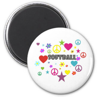 Softball Mixed Graphics 2 Inch Round Magnet