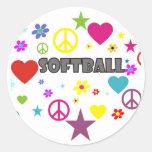 Softball Mixed Graphics Classic Round Sticker