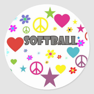 Softball Mixed Graphics Classic Round Sticker