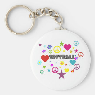 Softball Mixed Graphics Keychain