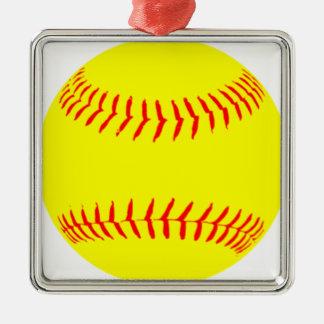 Softball modificado para requisitos particulares adorno navideño cuadrado de metal