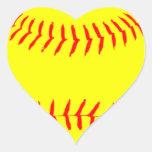 Softball modificado para requisitos particulares pegatina en forma de corazón