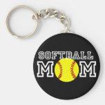 Softball Mom Basic Round Button Keychain