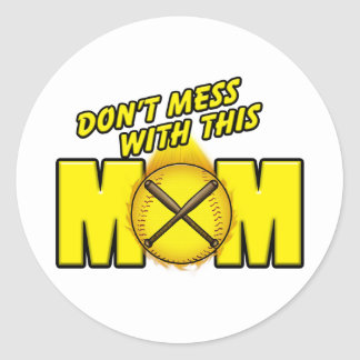 Softball Mom Classic Round Sticker