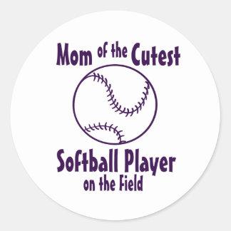 Softball Mom Cutest on the Field Classic Round Sticker
