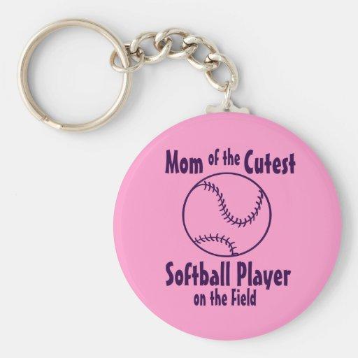 Softball Mom Cutest on the Field Keychain