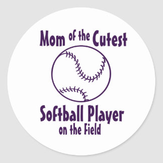 Softball Mom Cutest on the Field Round Stickers