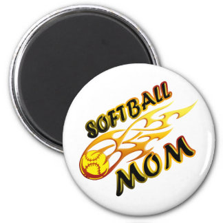 Softball Mom (flame) copy.png 2 Inch Round Magnet