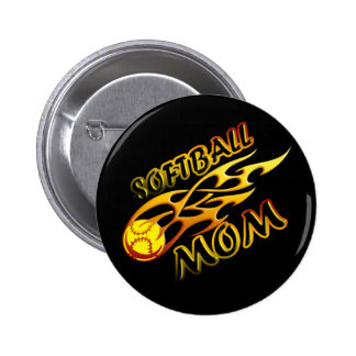 Softball Mom (flame) copy.png 2 Inch Round Button