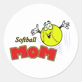 Softball Mom II Classic Round Sticker