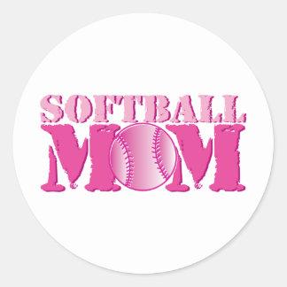 Softball Mom pink Classic Round Sticker