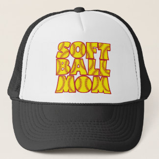 Softball Mom, red&yellow Trucker Hat