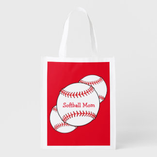 Softball Mom Reusable Bag Grocery Bags