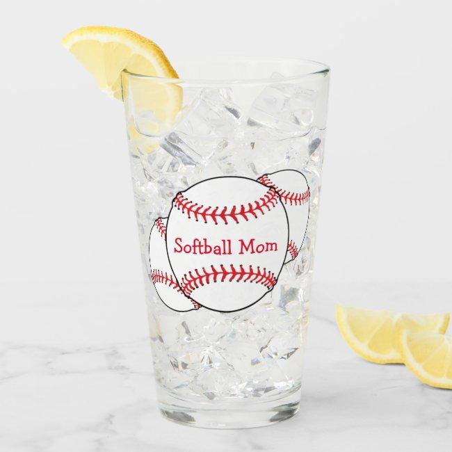Softball Mom USA Sports Glass Tumbler