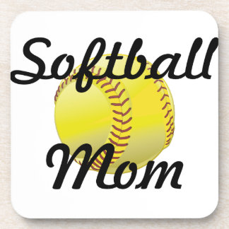 Softball mom with ball beverage coaster