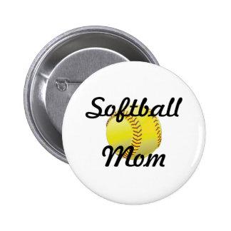 Softball mom with ball pinback button
