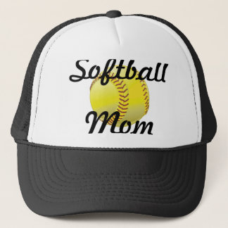Softball mom with ball trucker hat