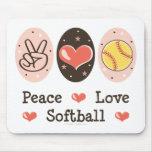 Softball Mousepad del amor de la paz Tapetes De Ratón