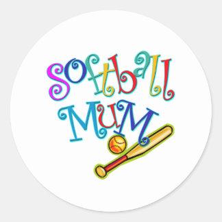 Softball Mum Classic Round Sticker
