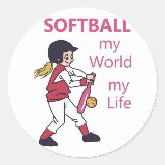 Softball My World Classic Round Sticker