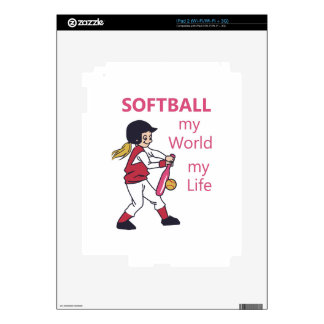 Softball My World Decals For iPad 2