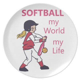 Softball My World Dinner Plate