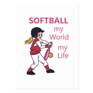 Softball My World Postcard