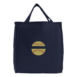 Softball Name Drop Embroidered Tote Bag