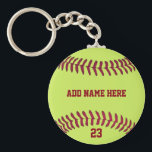"Softball Name Number Customized Keychain<br><div class=""desc"">Softball Name Number Customized Key Chain has the design image of a softball with template name and number to customize.Color of the sports theme font is the same as the seam of the ball.Place the name and number of the player, as desired. A great souvenir gift this holiday season for...</div>"