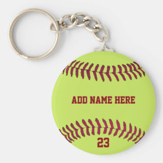Softball Name Number Customized Keychain