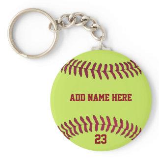 Softball Name Number Customized Keychain
