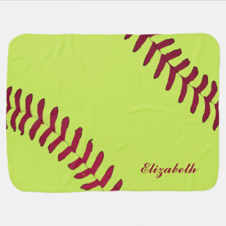 Softball Name Personalized Receiving Blanket