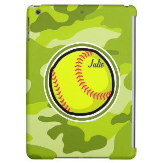 Softball on bright green camo, camouflage case for iPad air