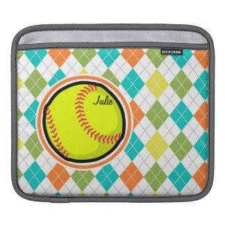 Softball on Colorful Argyle Pattern Sleeve For iPads