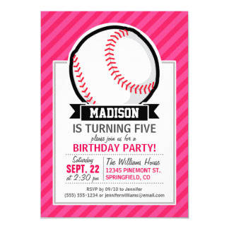 Softball on Pink Stripes Card
