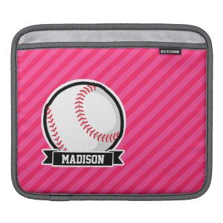 Softball on Pink Stripes iPad Sleeve