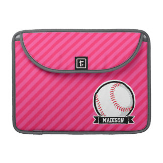 Softball on Pink Stripes Sleeve For MacBook Pro
