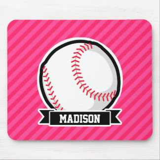 Softball on Pink Stripes Mouse Pad