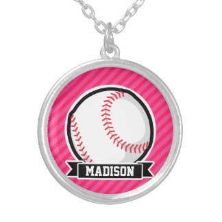 Softball on Pink Stripes Silver Plated Necklace