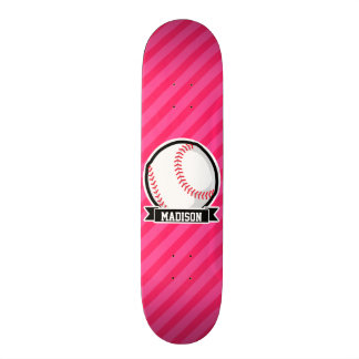 Softball on Pink Stripes Skate Board