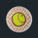 """Softball; Orange and White Chevron Bluetooth Speaker<br><div class=""""desc"""">Cool,  cute yellow softball design on  Orange and White Chevron Stripes  pattern.  Great gift for softball players or sports fans!</div>"""