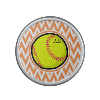 Softball; Orange and White Chevron Bluetooth Speaker