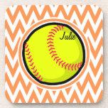 Softball; Orange and White Chevron Coasters
