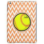 Softball; Orange and White Chevron Case For iPad Air